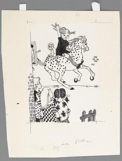 """[長くつ下のピッピの世界展] 見どころ解説 その2 「長くつ下のピッピ」 挿絵原画 """"馬にのったピッピとサルのニルソンさん"""" Original drawing for Pippi Longstocking(Pippi riding)"""